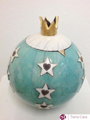 Raku Tierurne Sternenhimmel grün Krone Keramik Ton