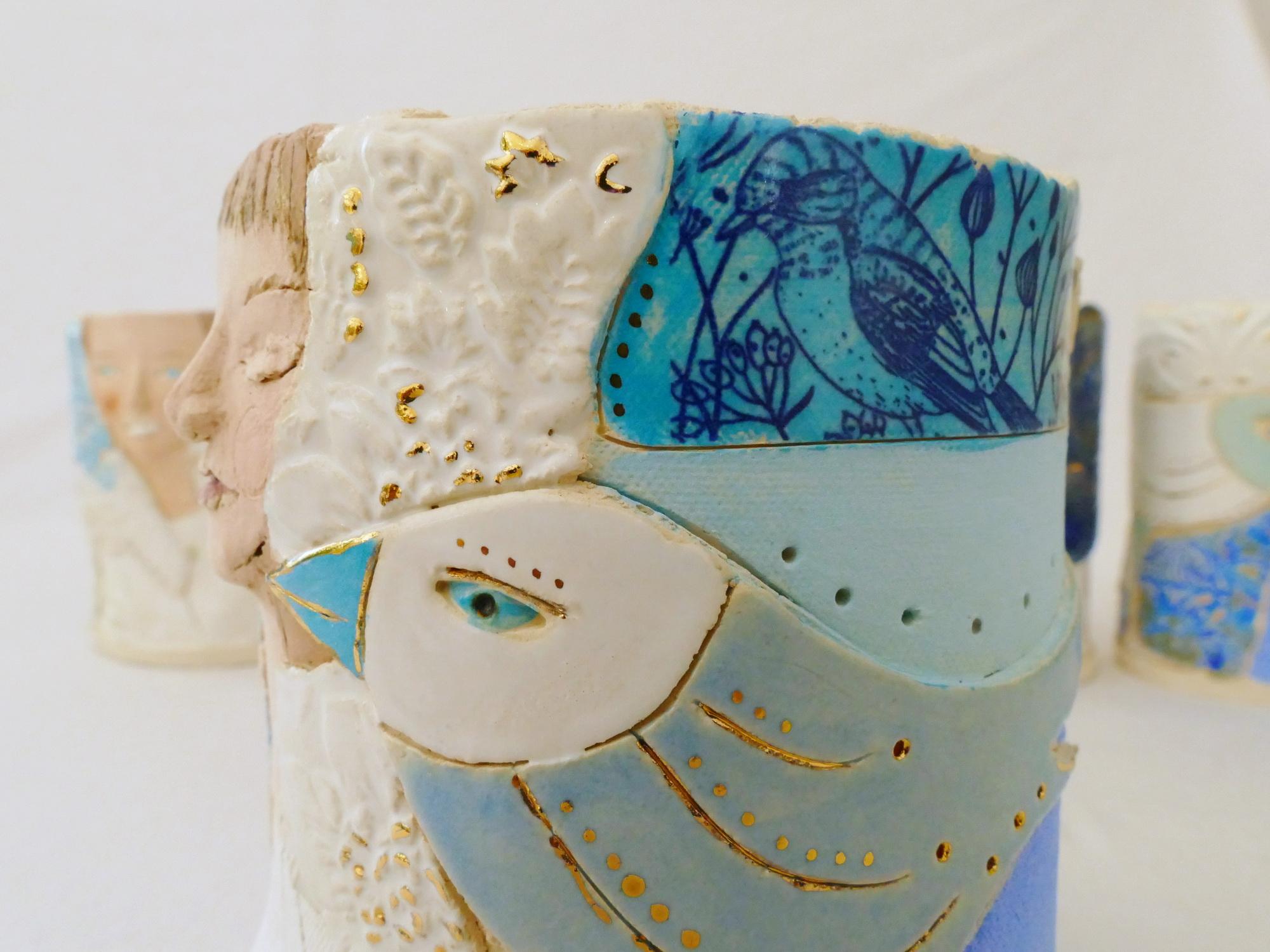 Keramik Skulptur Büste Ceramic Succulent Planter