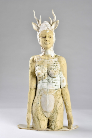 Skulptur, Plastik, Keramikkunst, Hirschfrau, Keramik, Ton